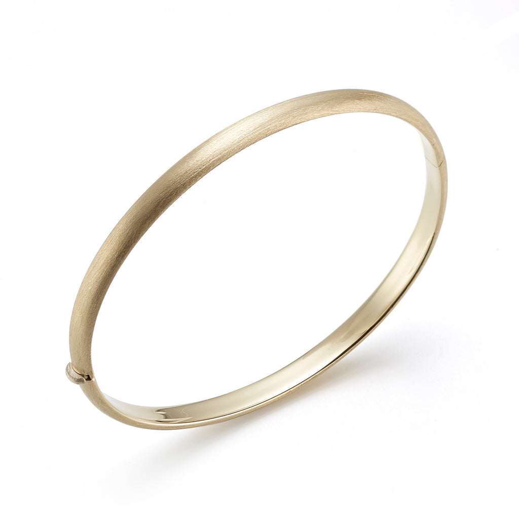 Thin Brushed Gold Hinged Bangle