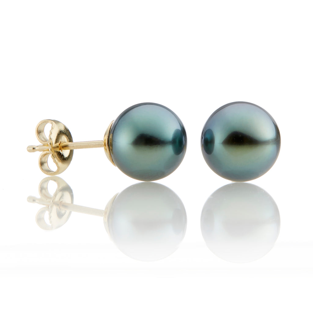 9.5mm Gray Tahitian Pearl Earrings
