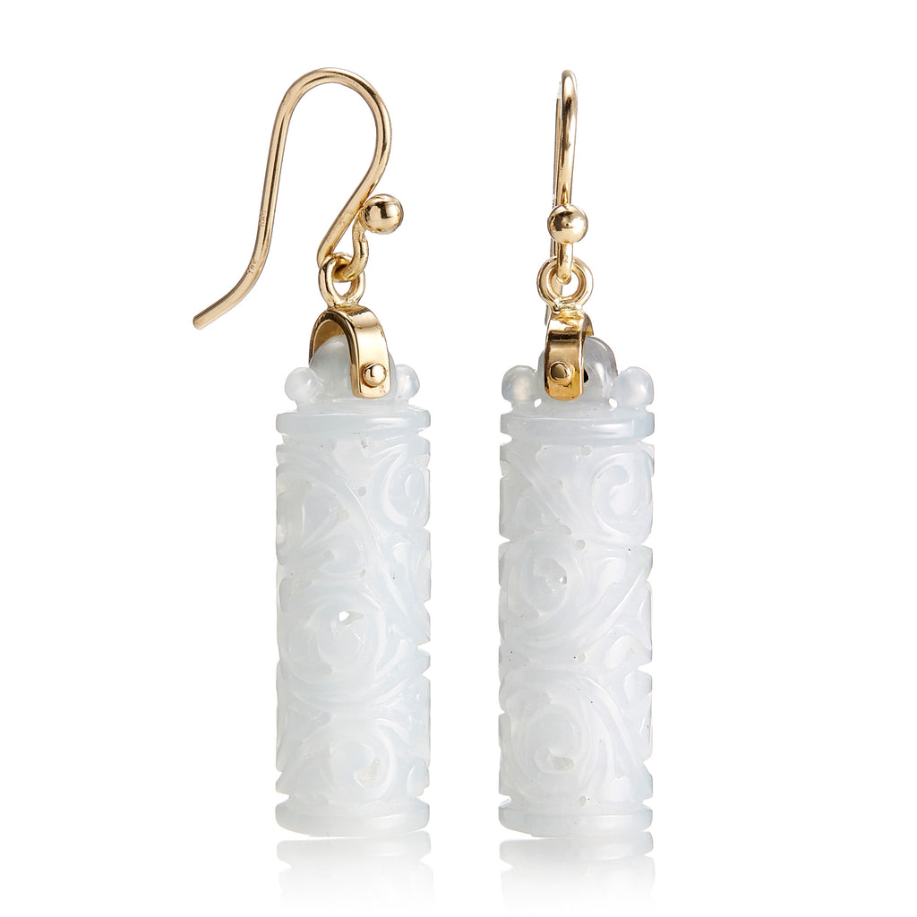 Carved White Jade Cylinder Earrings