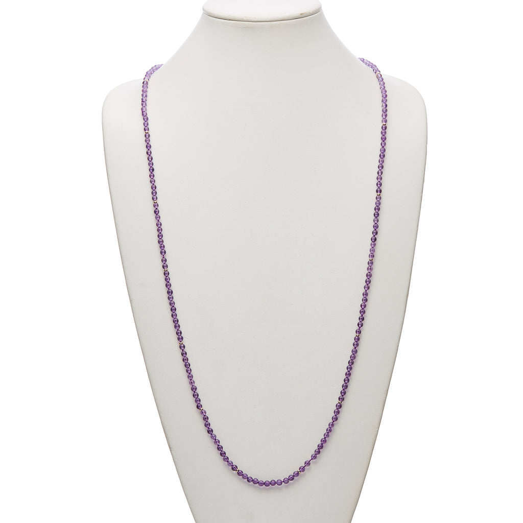 Smooth Amethyst & Gold Rope Necklace