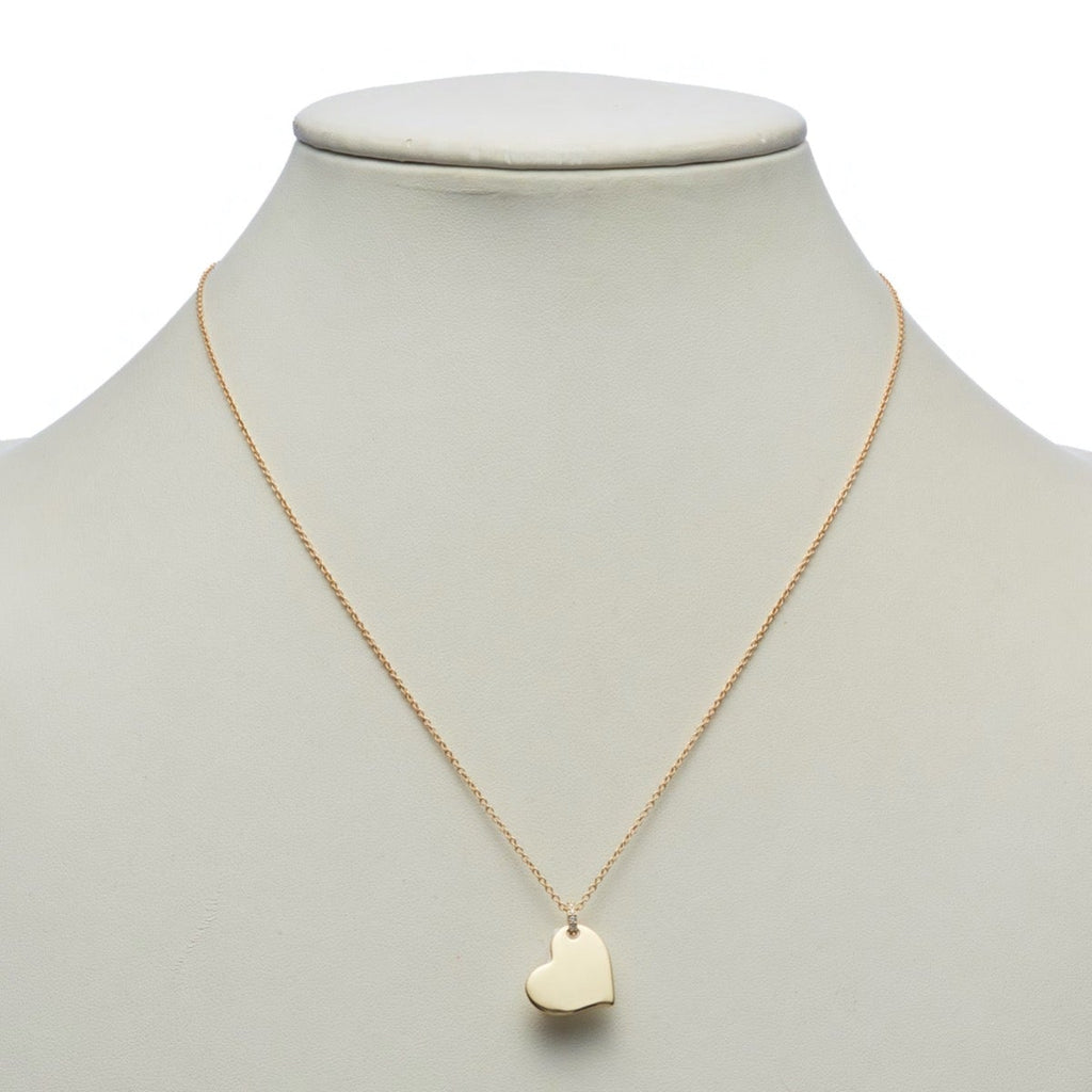 Gold Heart & Diamond Pendant Necklace