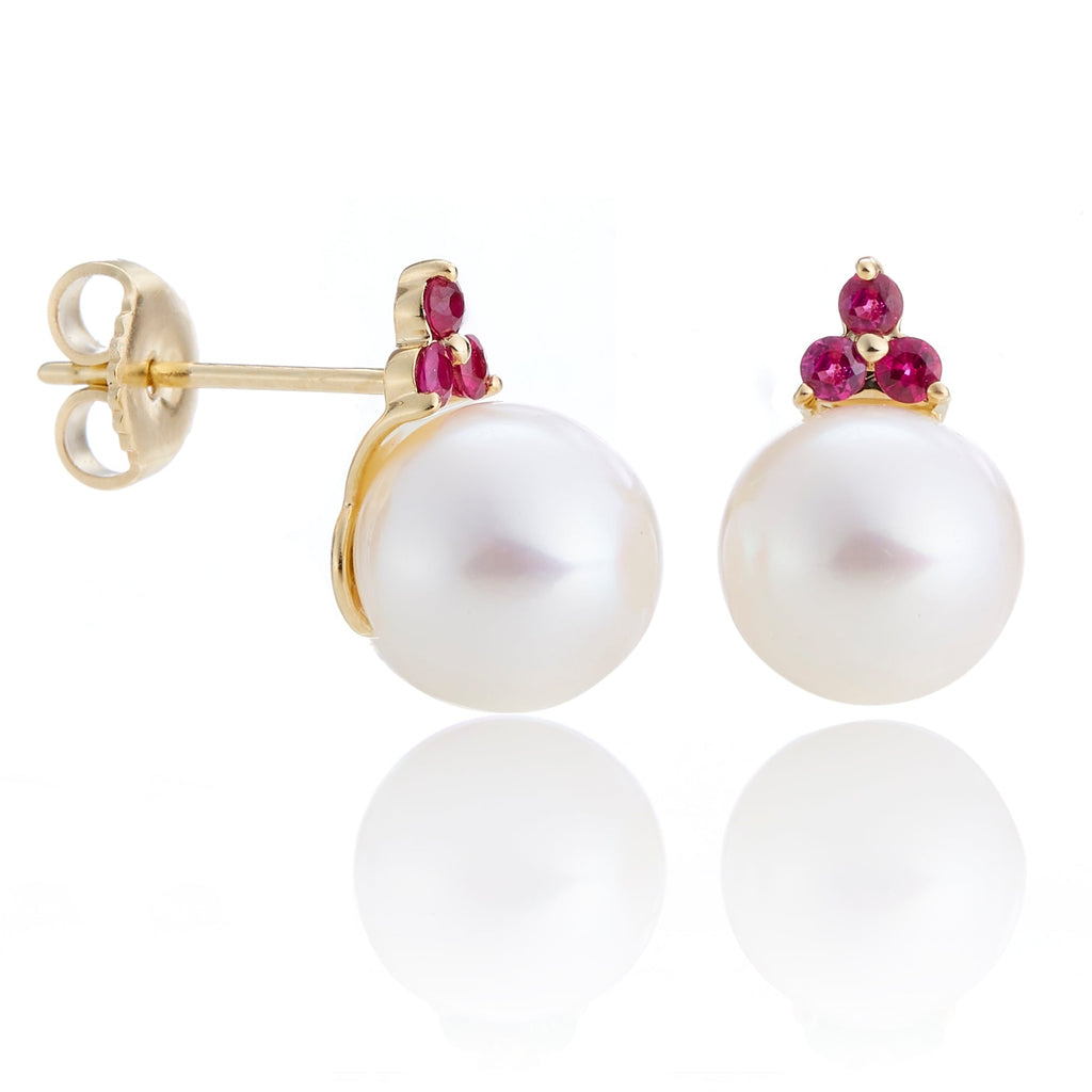 Ruby Trio & Pearl Stud Earrings