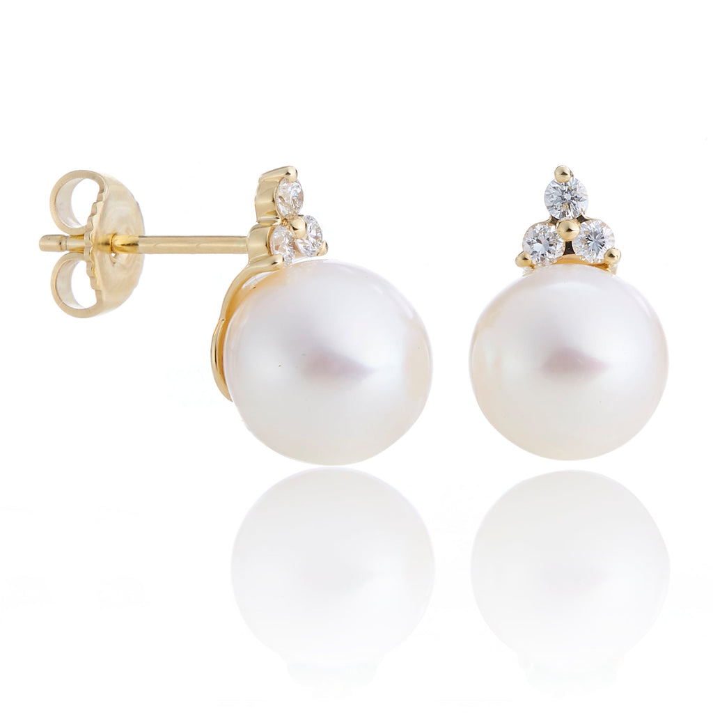 Diamond Trio & Pearl Earrings