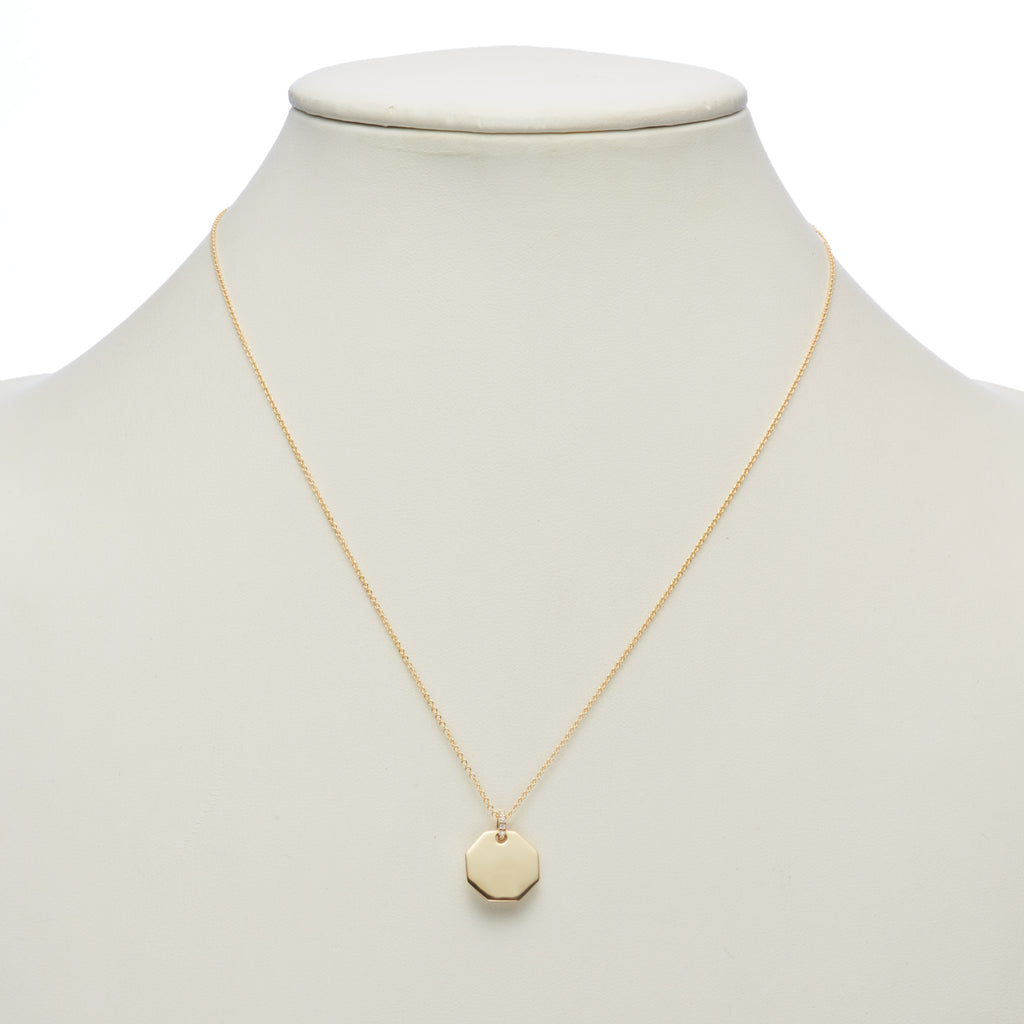 Gold & Diamond Octagon Pendant Necklace