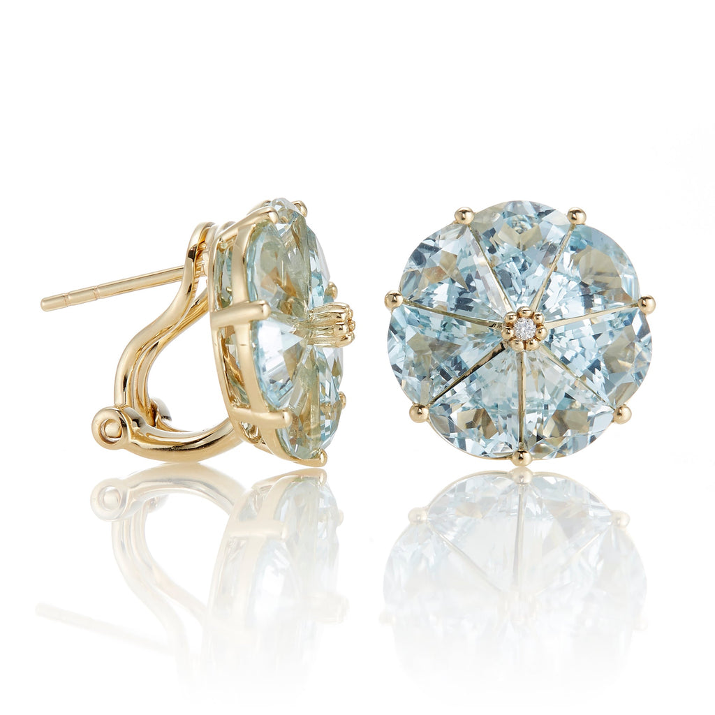 Aquamarine & Diamond Pinwheel Earrings