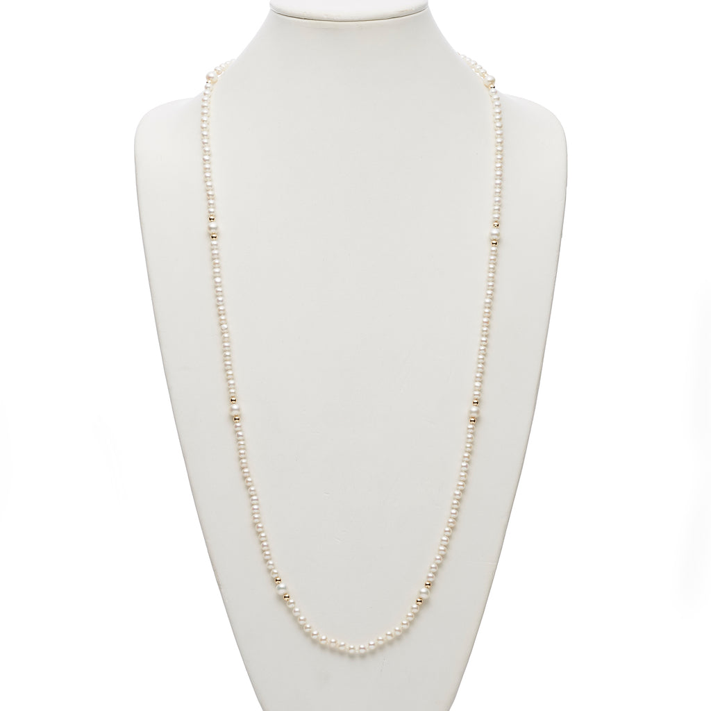 Gump's Signature White Pearl & Gold Station Rope Necklace