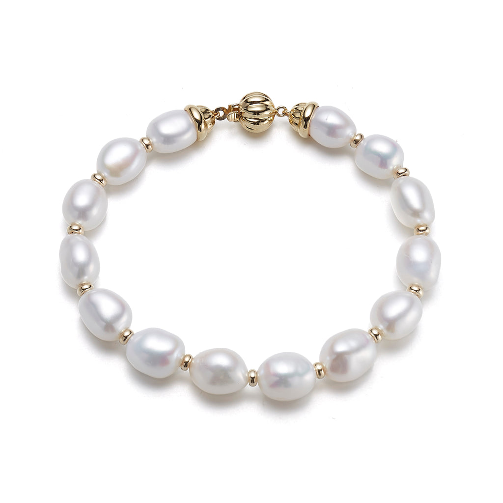 Oval Pearl Bracelet with Fluted Clasp