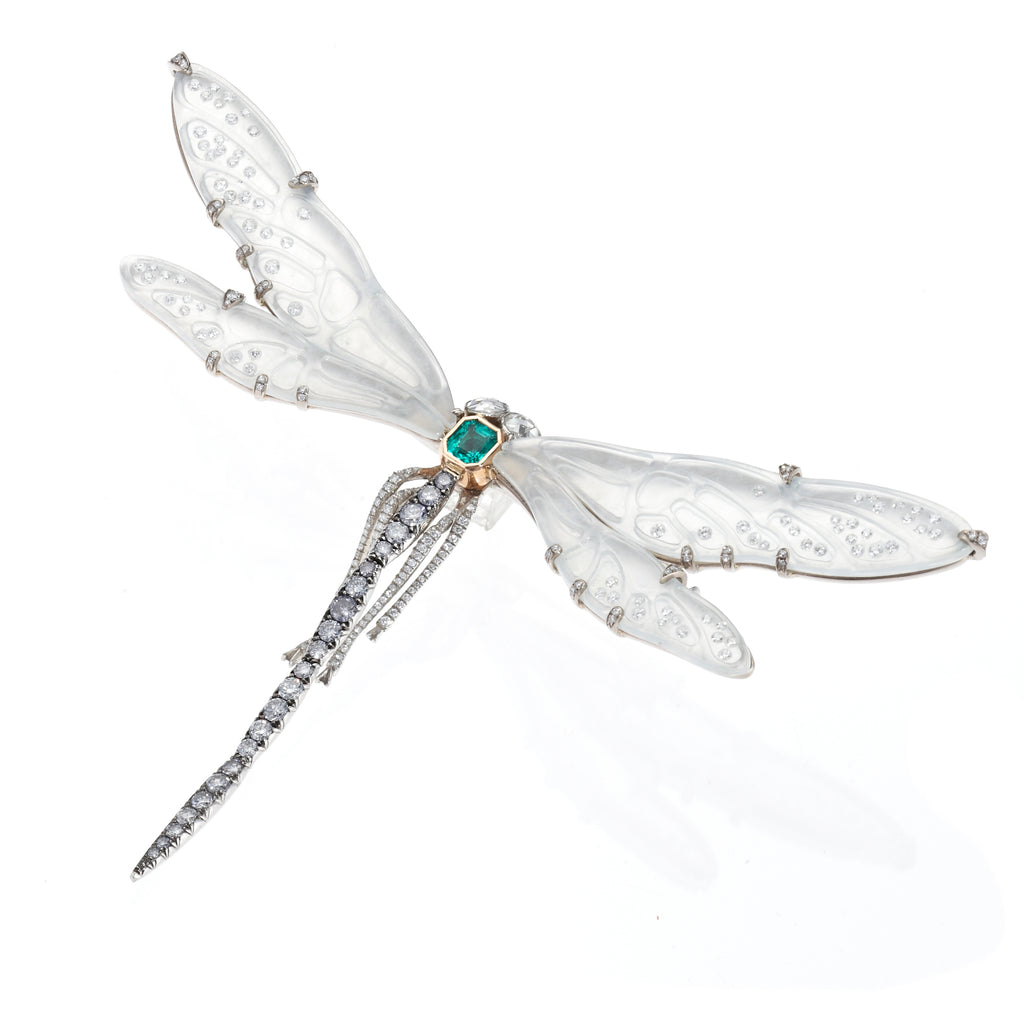 Carved Jade & Diamond Dragonfly Brooch