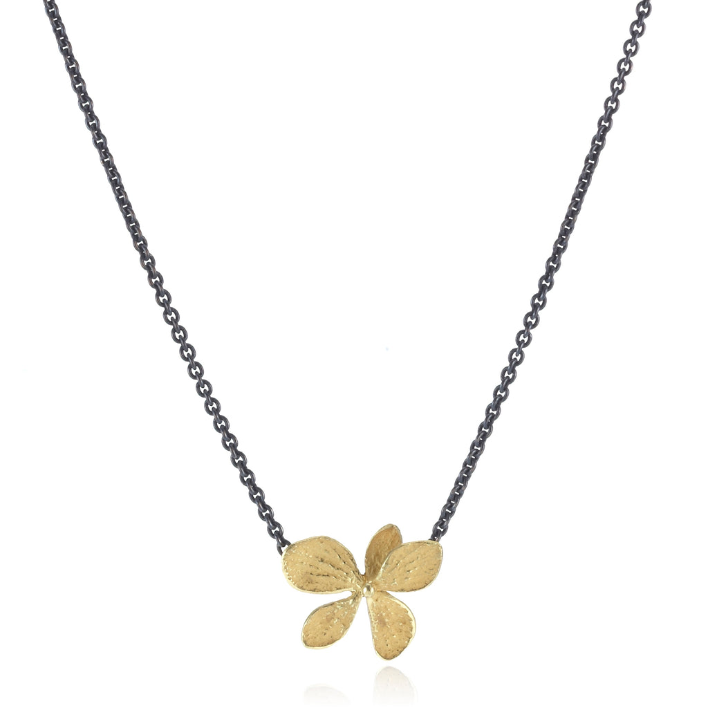 Gold Hydrangea Pendant with Oxidized Silver Chain