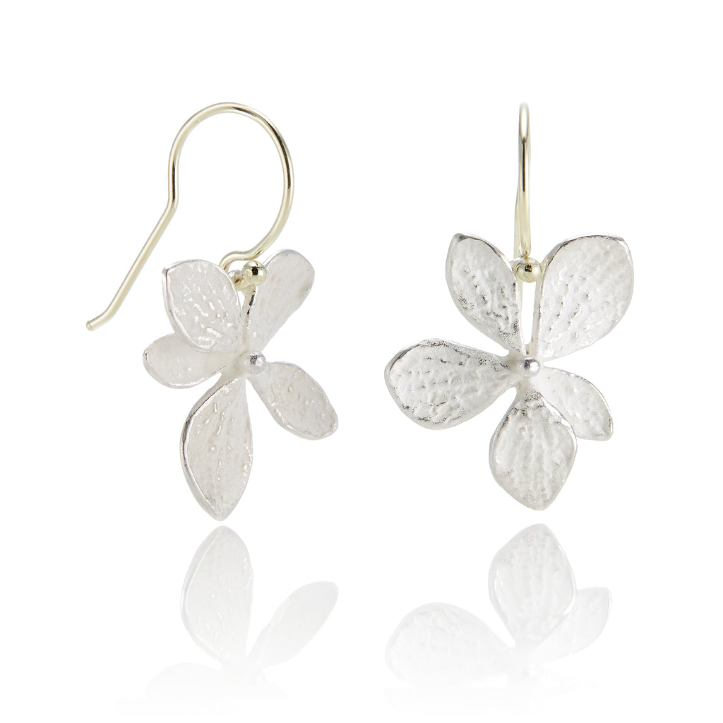 Silver Hydrangea Drop Earrings