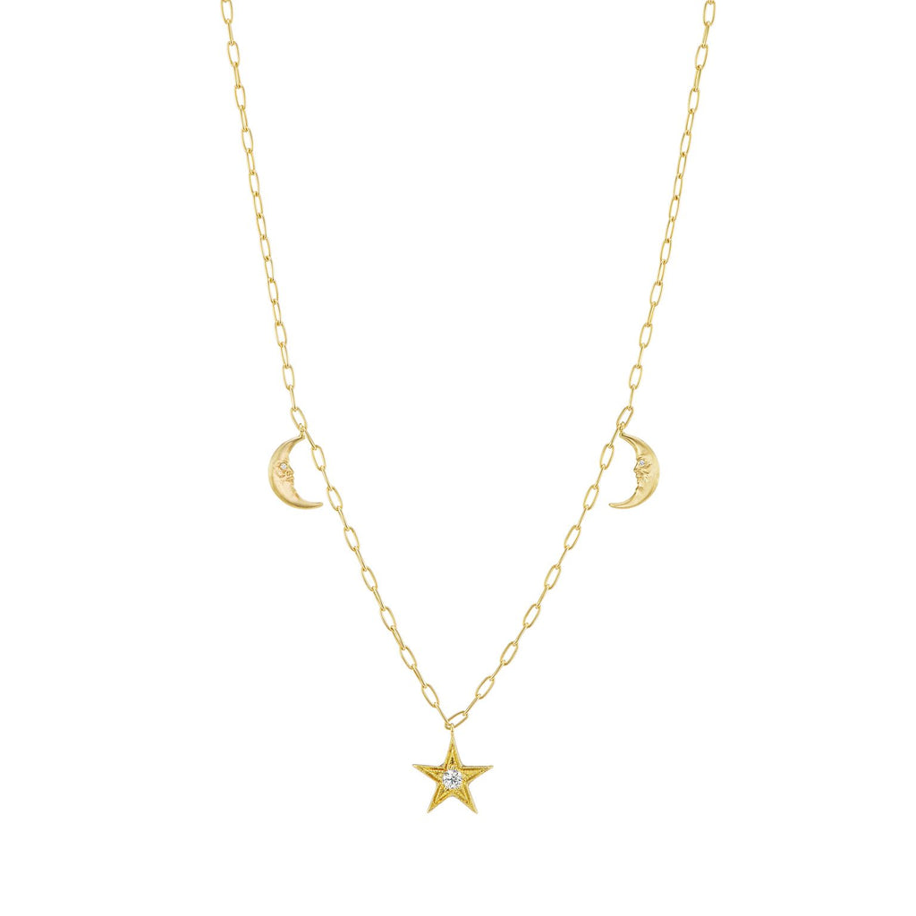 Crescent Moon & Star Celestial Charm Necklace