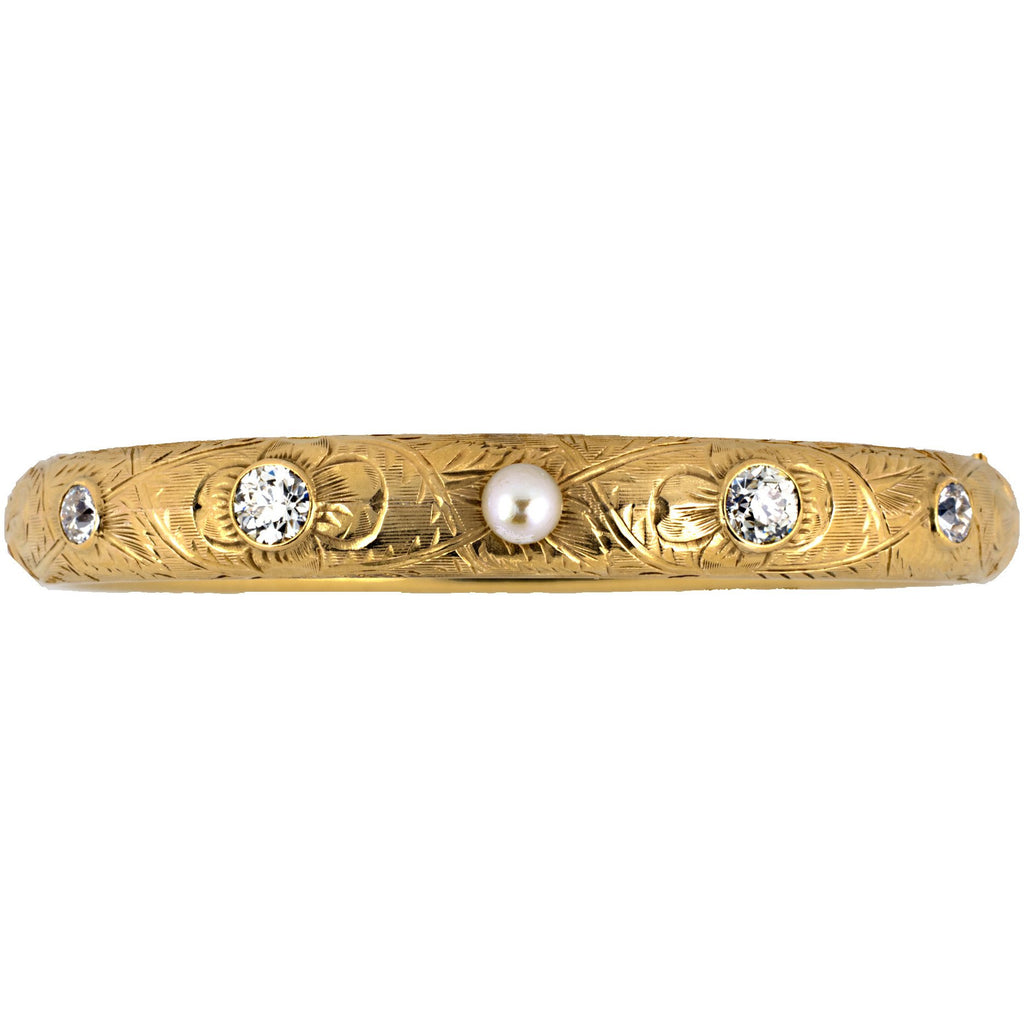 Gold, Pearl & Diamond Bangle