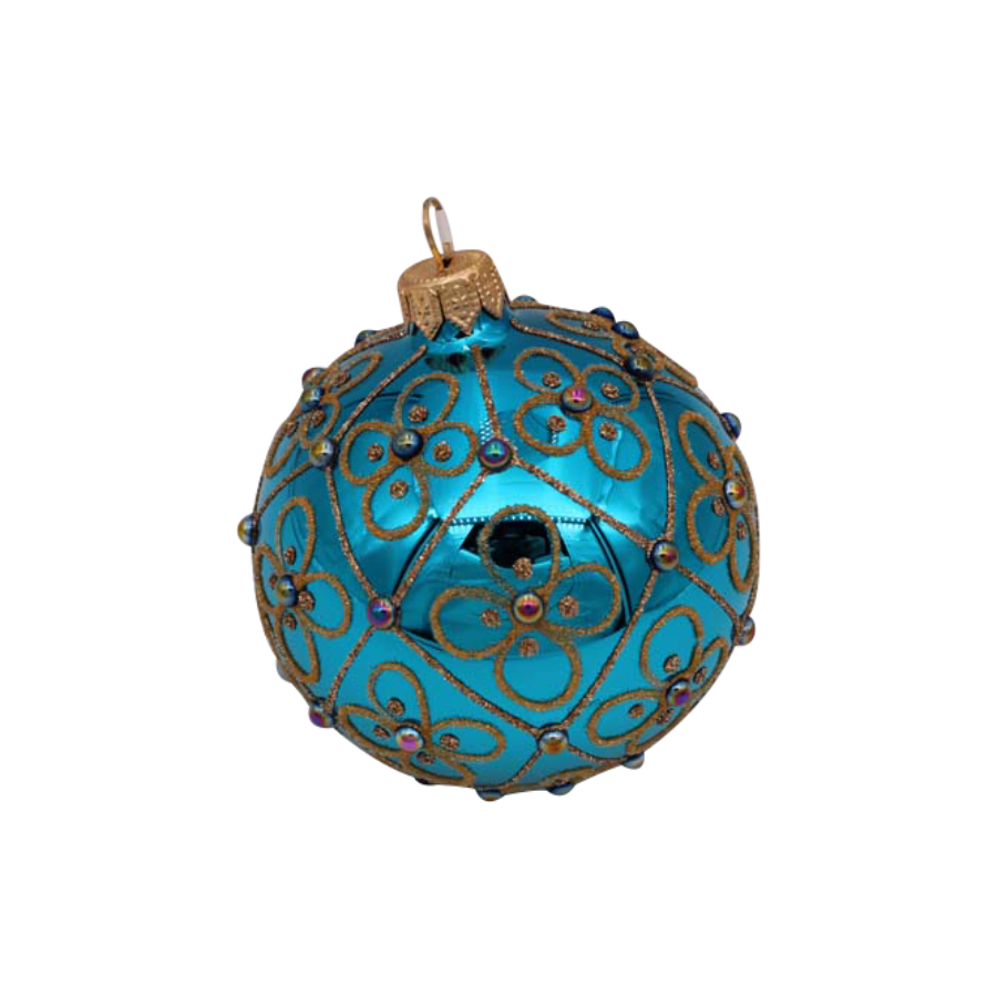 Turquoise with Gold Flowers Ornament