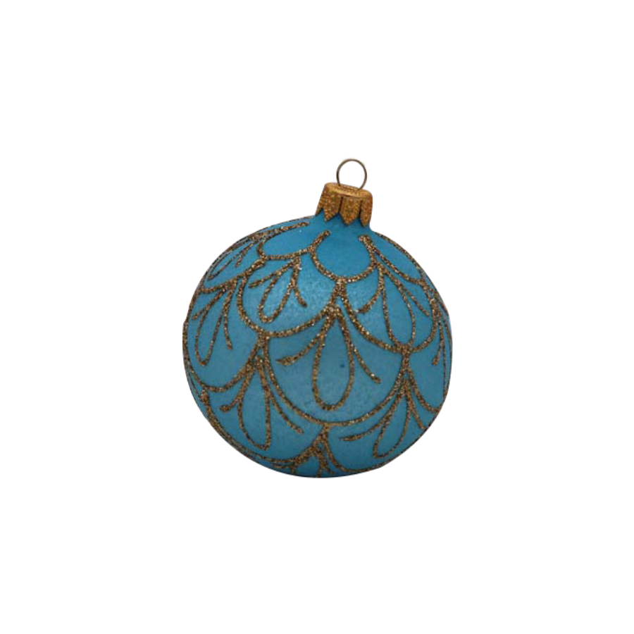 Light Blue with Gold Drops Ornament