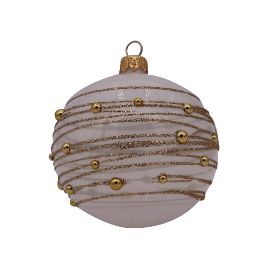 White with Gold Beads Ornament
