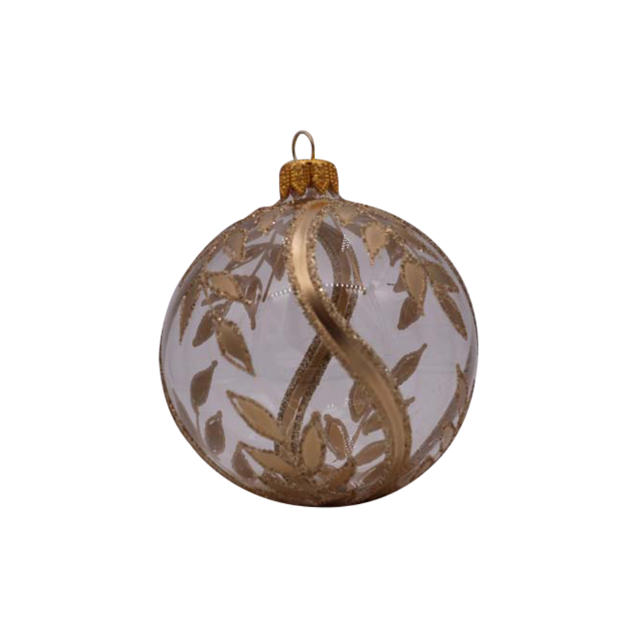 Clear with Gold Leaves Ornament