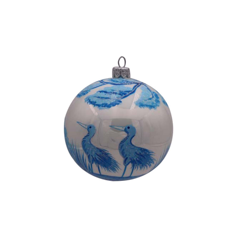 Blue White Cranes Ornament