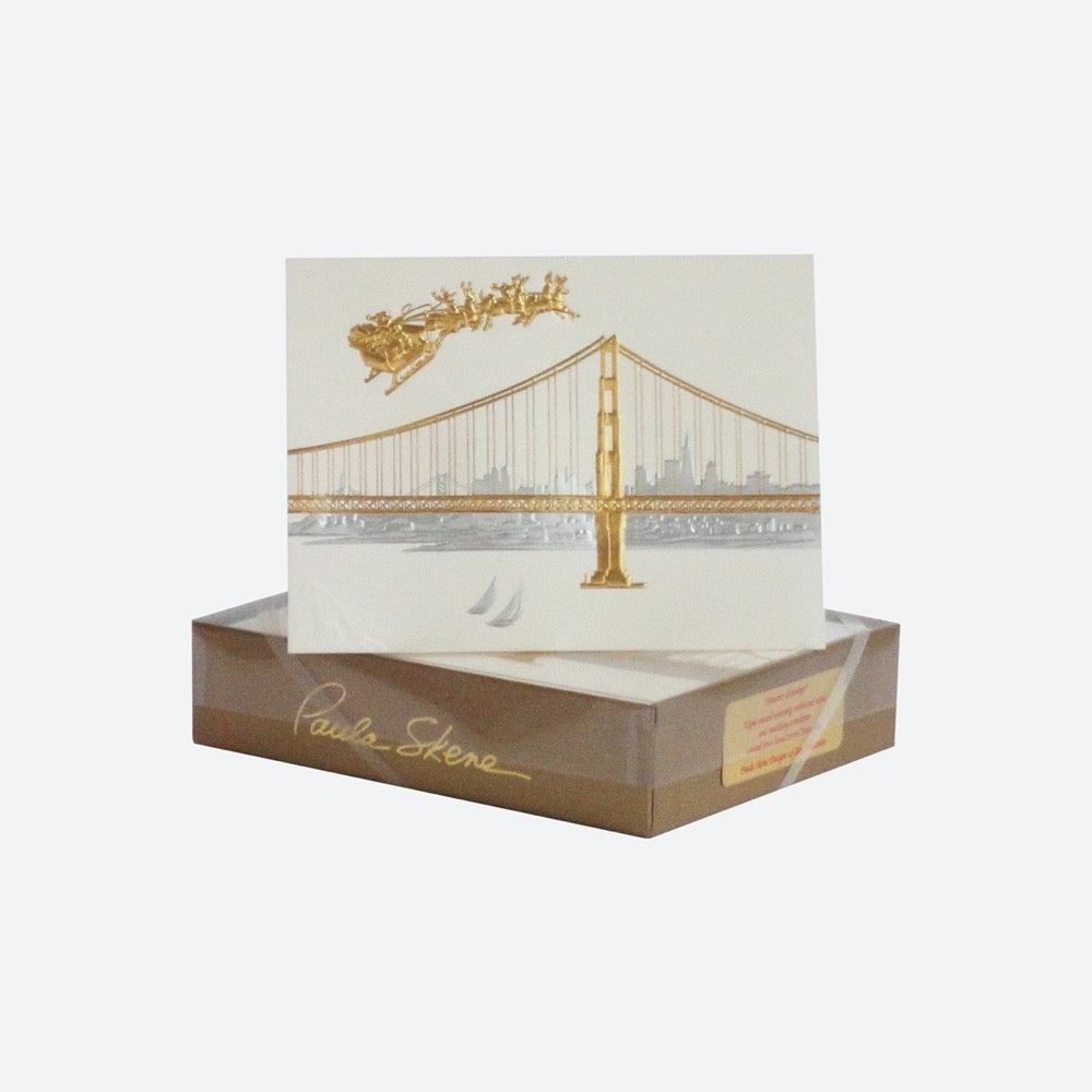 Paula Skene SF Skyline with Santa Cards Set of 8