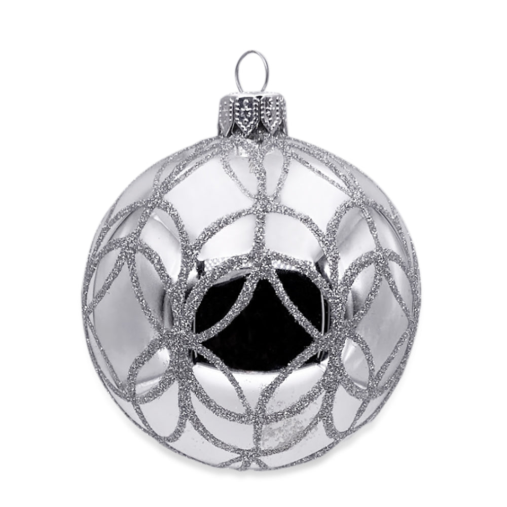 Silver with Silver Glitter Ornament