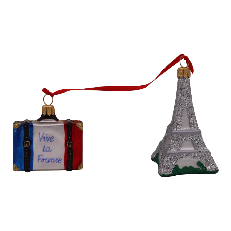 Eiffel Tower & Suitcase Ornament