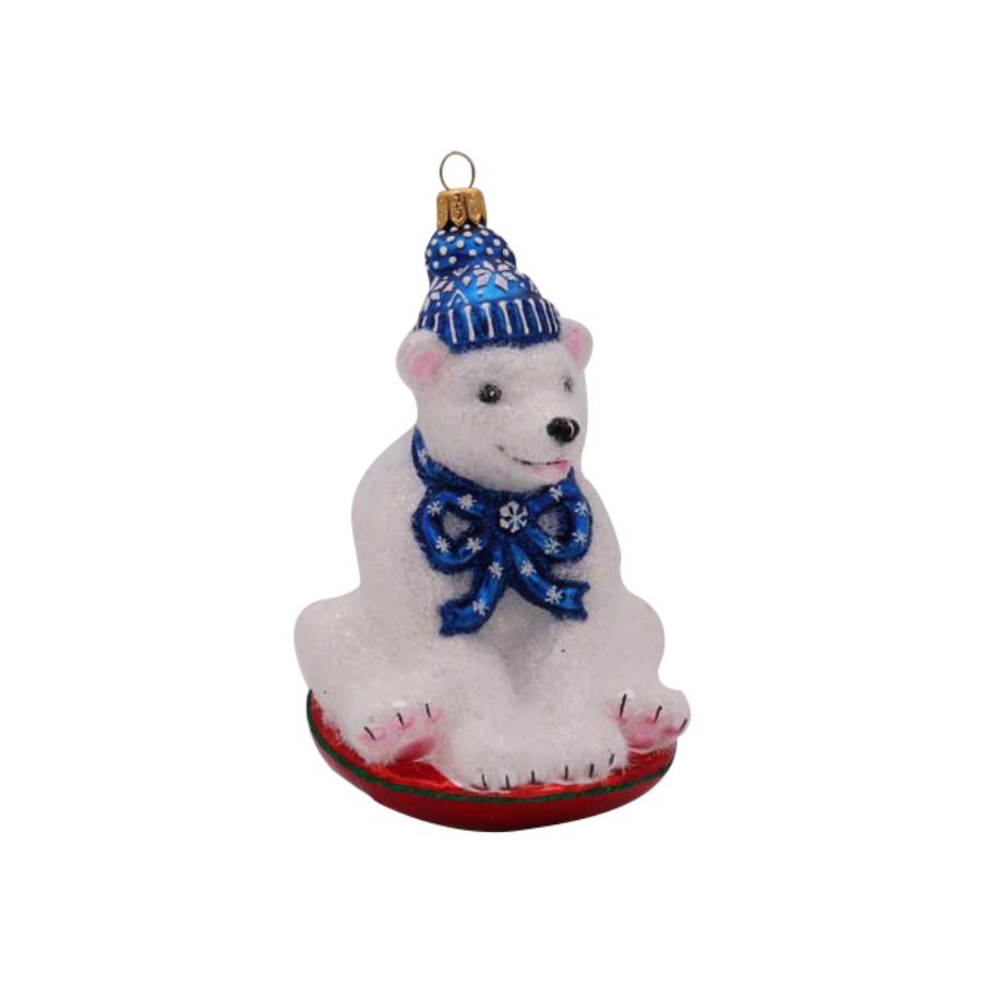 Polar Bear on Sled Ornament