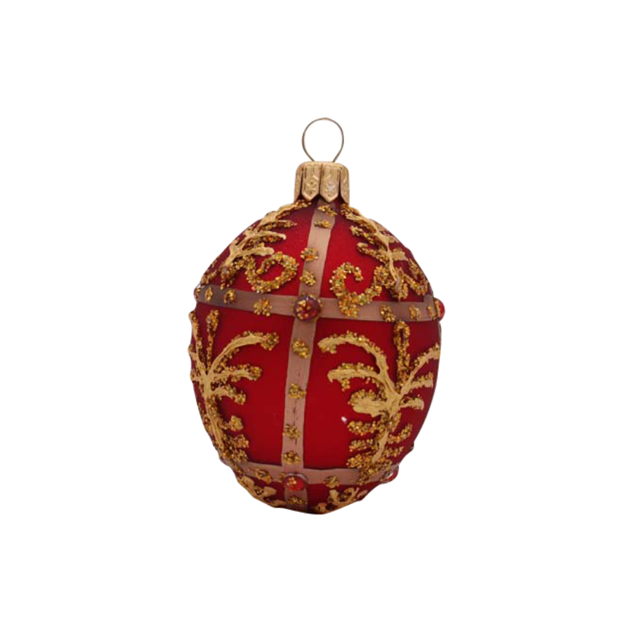Red Egg Ornament with Florentine & Beads