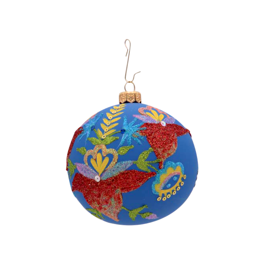 Blue Ball with Flowers Ornament