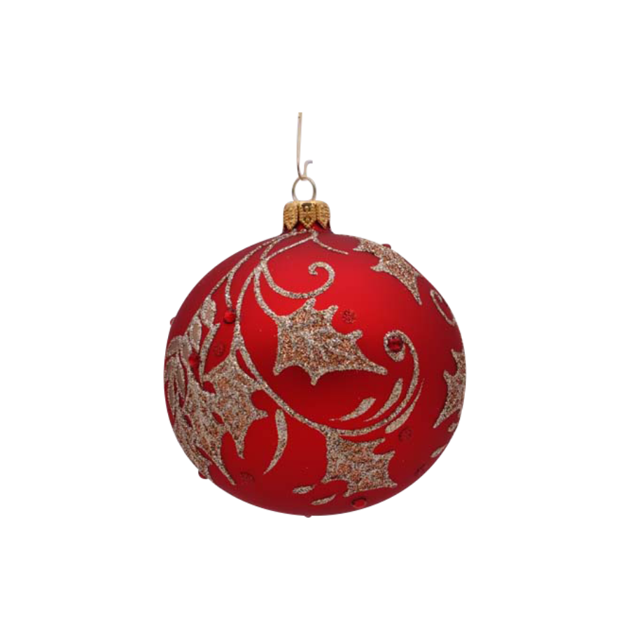 Red Ball With Gold Leaves Ornament