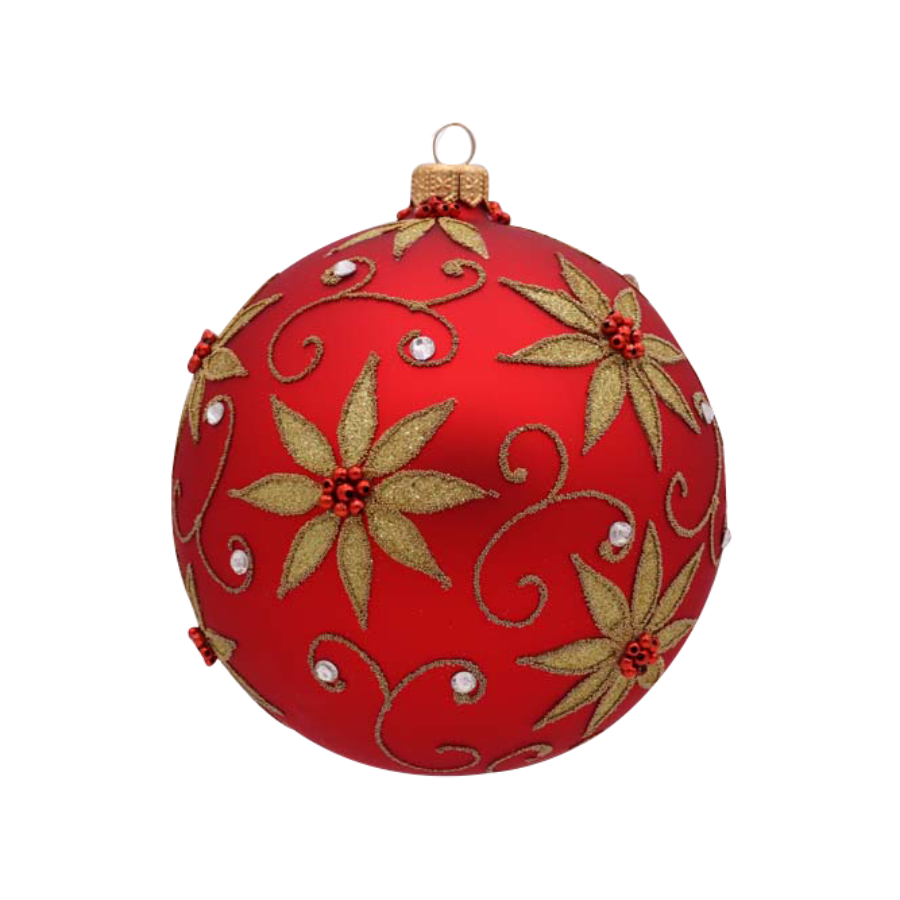 Red Ball With Gold Poinsettia Ornament