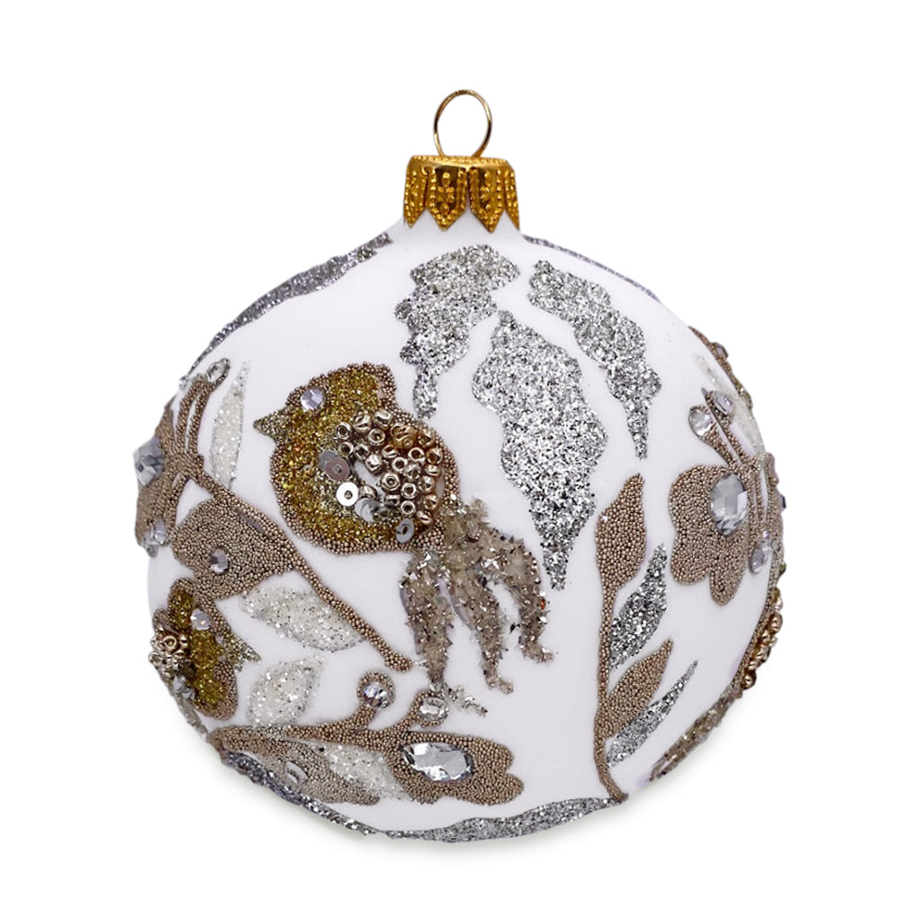 White Ball with Gold Flowers Ornament