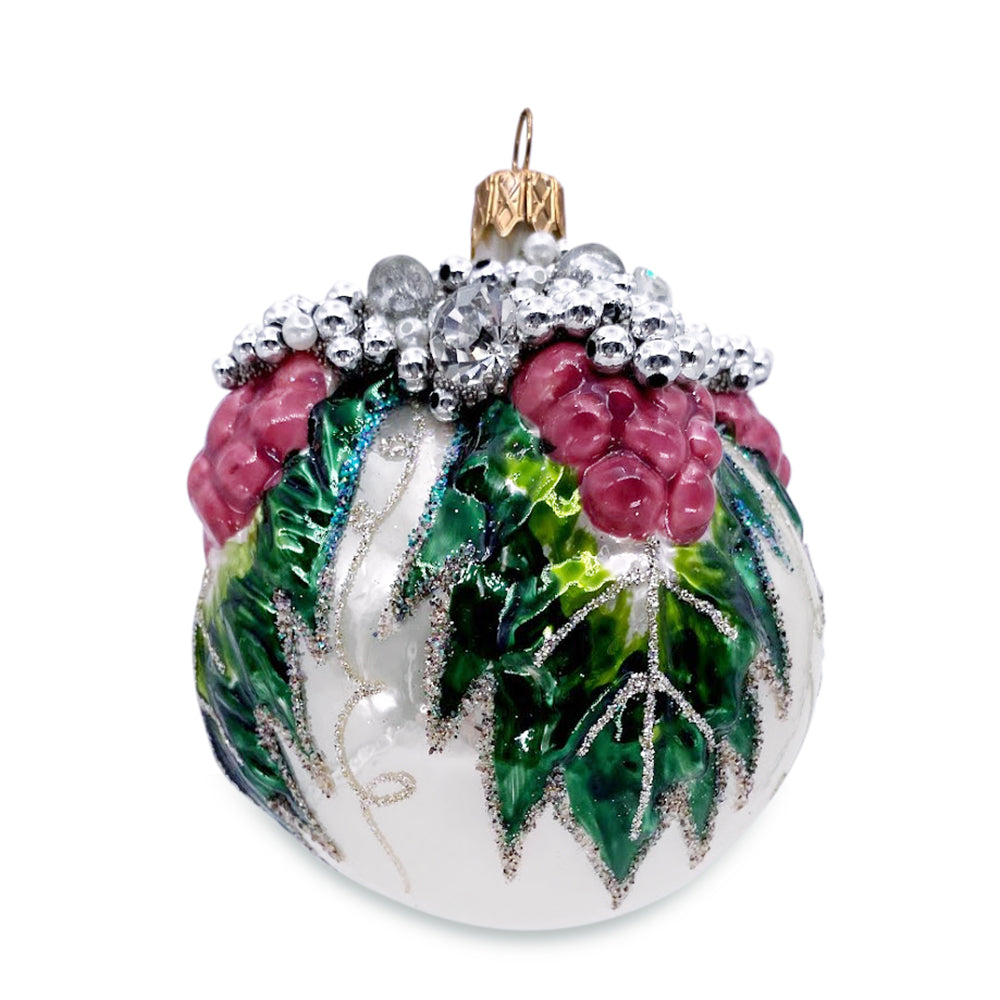 Silver Ball with Grapes Ornament