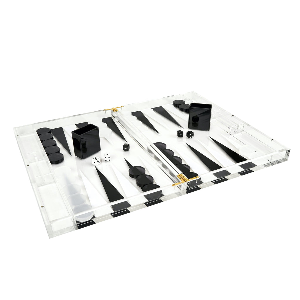 Lucite Black & White Backgammon Set