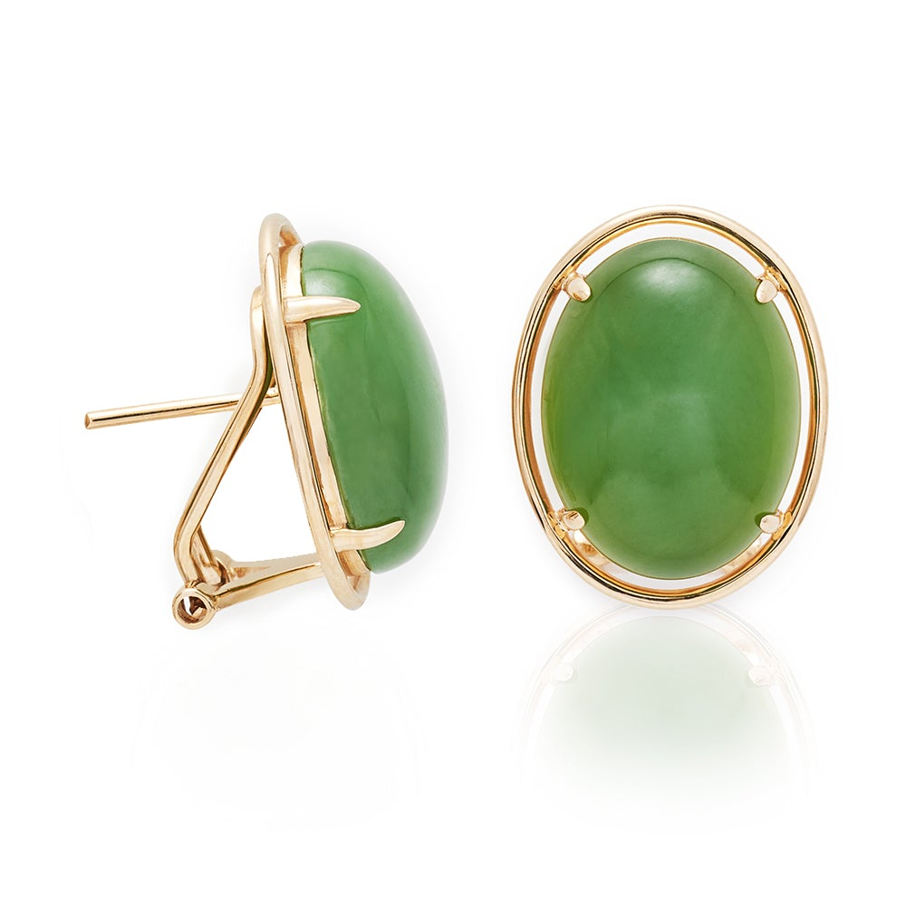 Green Nephrite Jade Cabochon & Gold Earrings