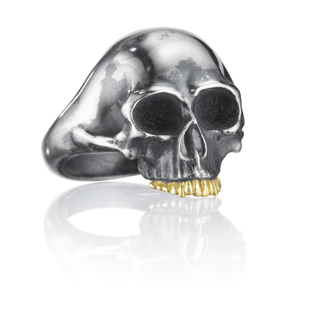 Silver Black Skull Ring with Gold