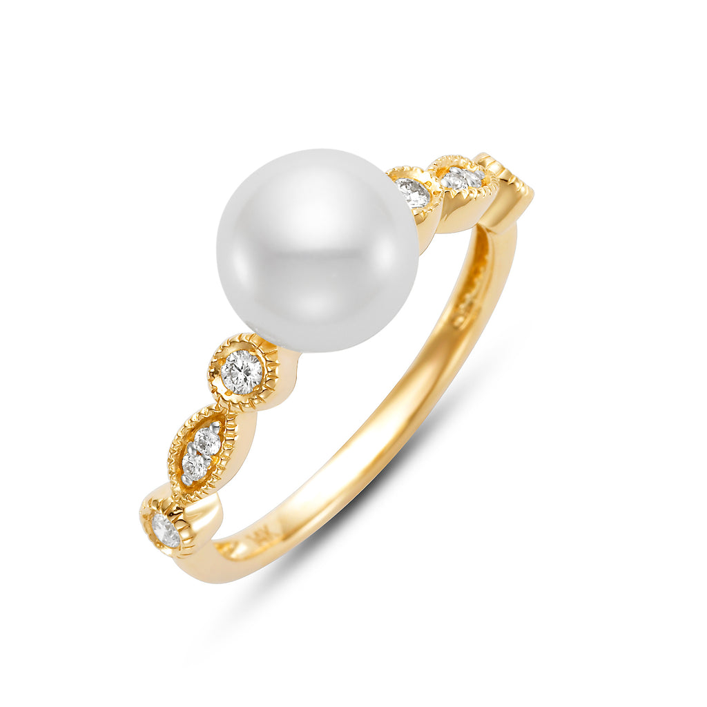 Millegrain White Pearl & Diamond Ring