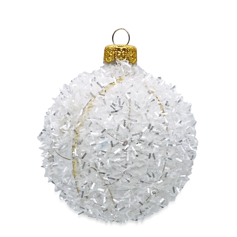 White Glitter Ball Ornament