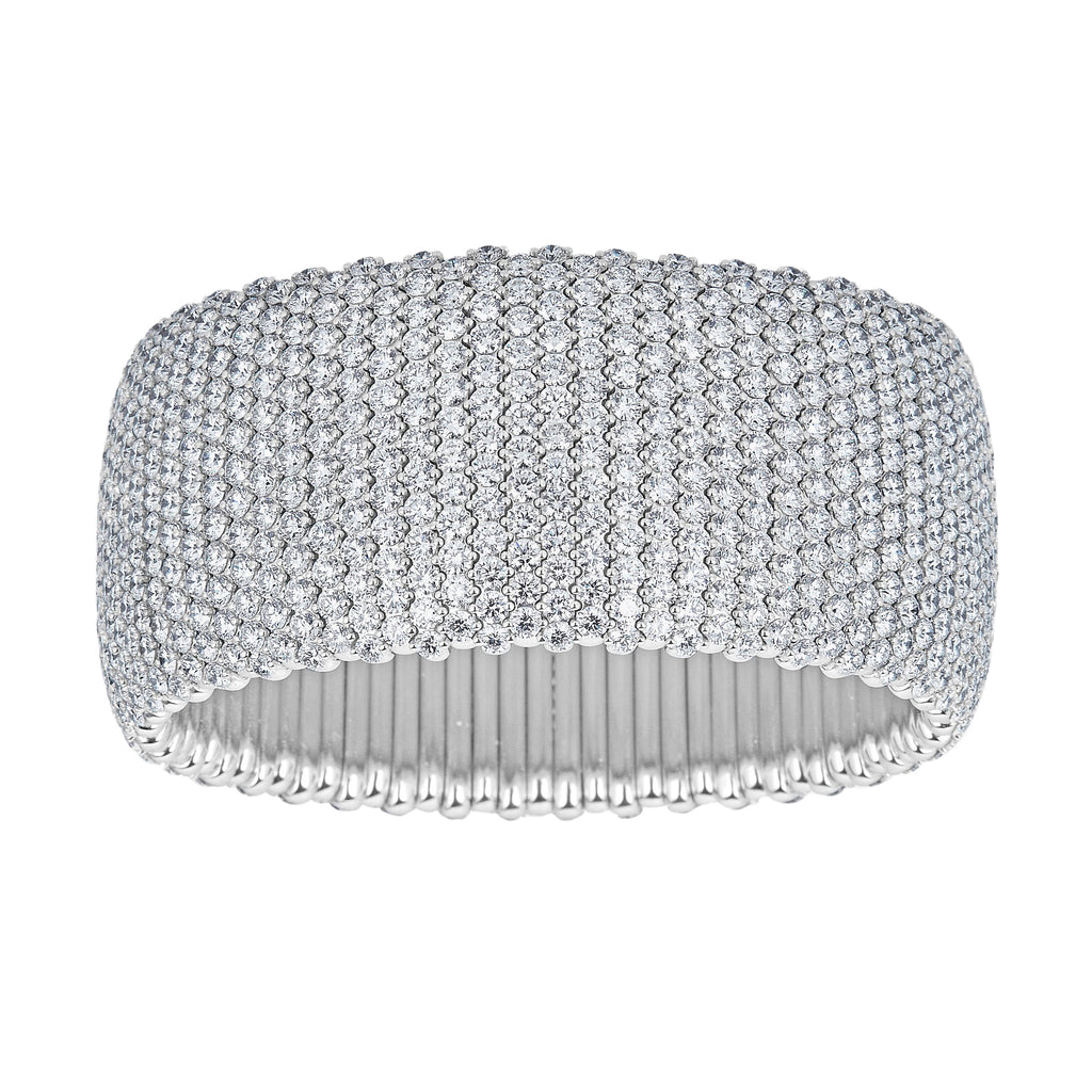 Wide Pavé Diamond Stretch Bracelet in White Gold