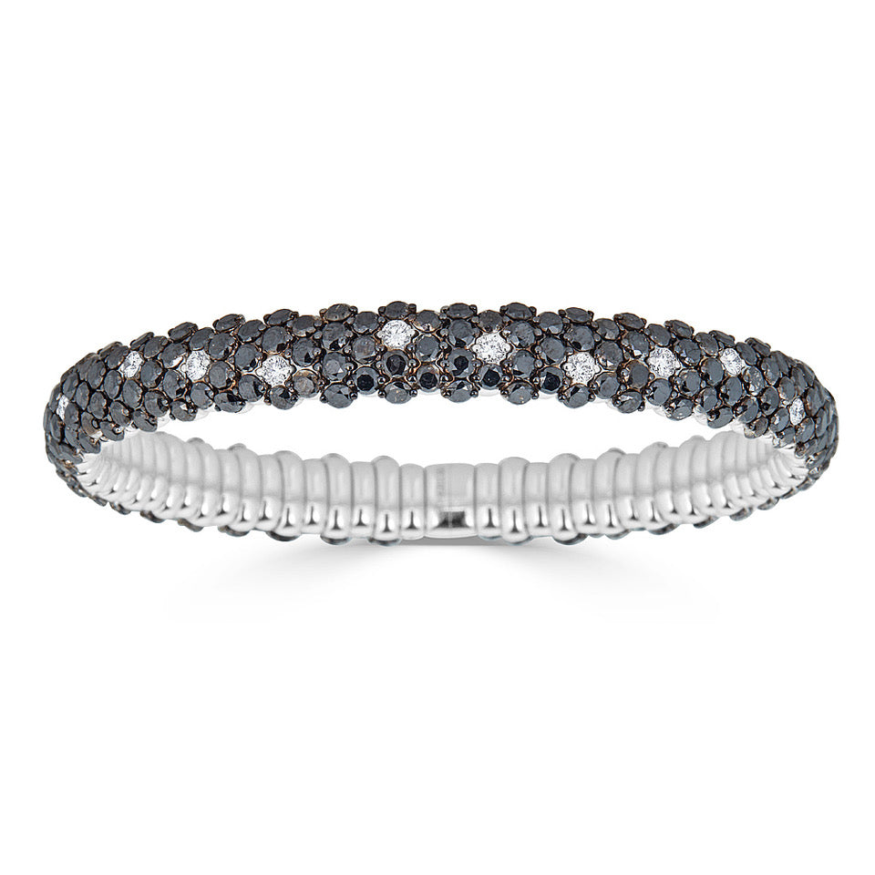 Black & White Diamond Stretch Bracelet in White Gold