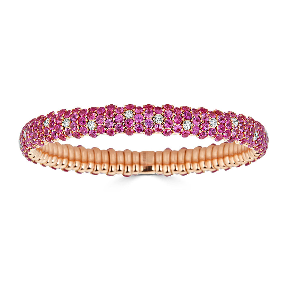 Pink Sapphire & Diamond Stretch Bracelet in Yellow Gold