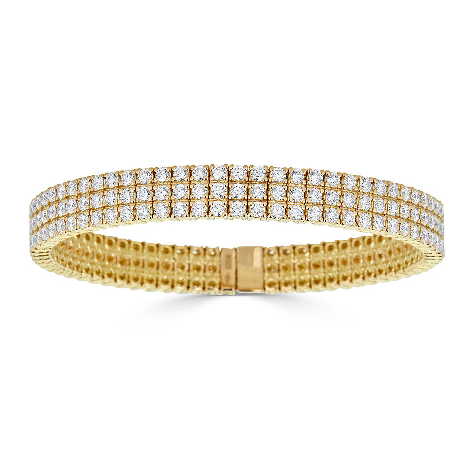 Zydo 3-Row Diamond Stretch Bracelet Yellow Gold