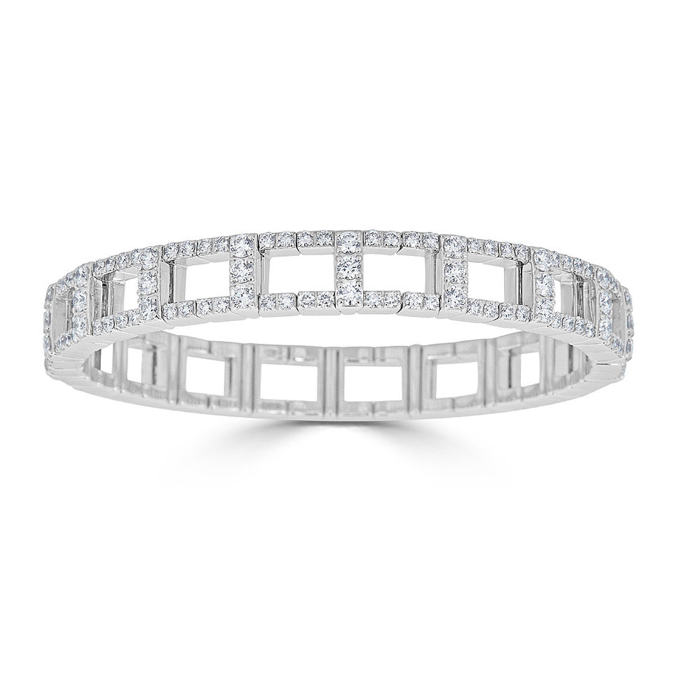 Open Diamond Stretch Bracelet In White Gold
