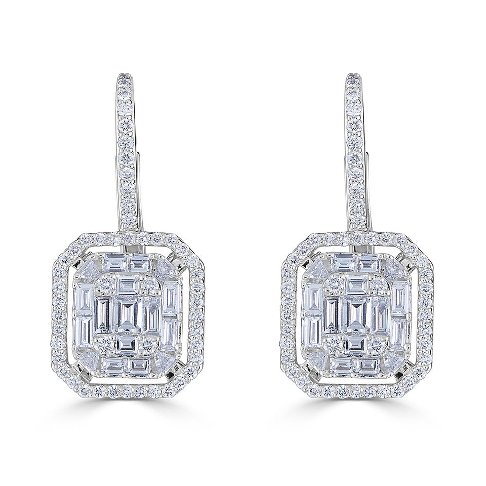 Diamond Mosaic Drop Earrings