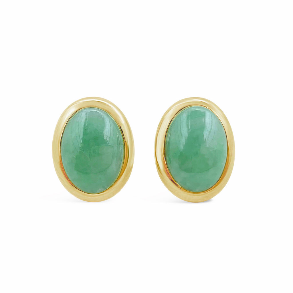 Mottled Apple Green Bezel Set Jade Earrings