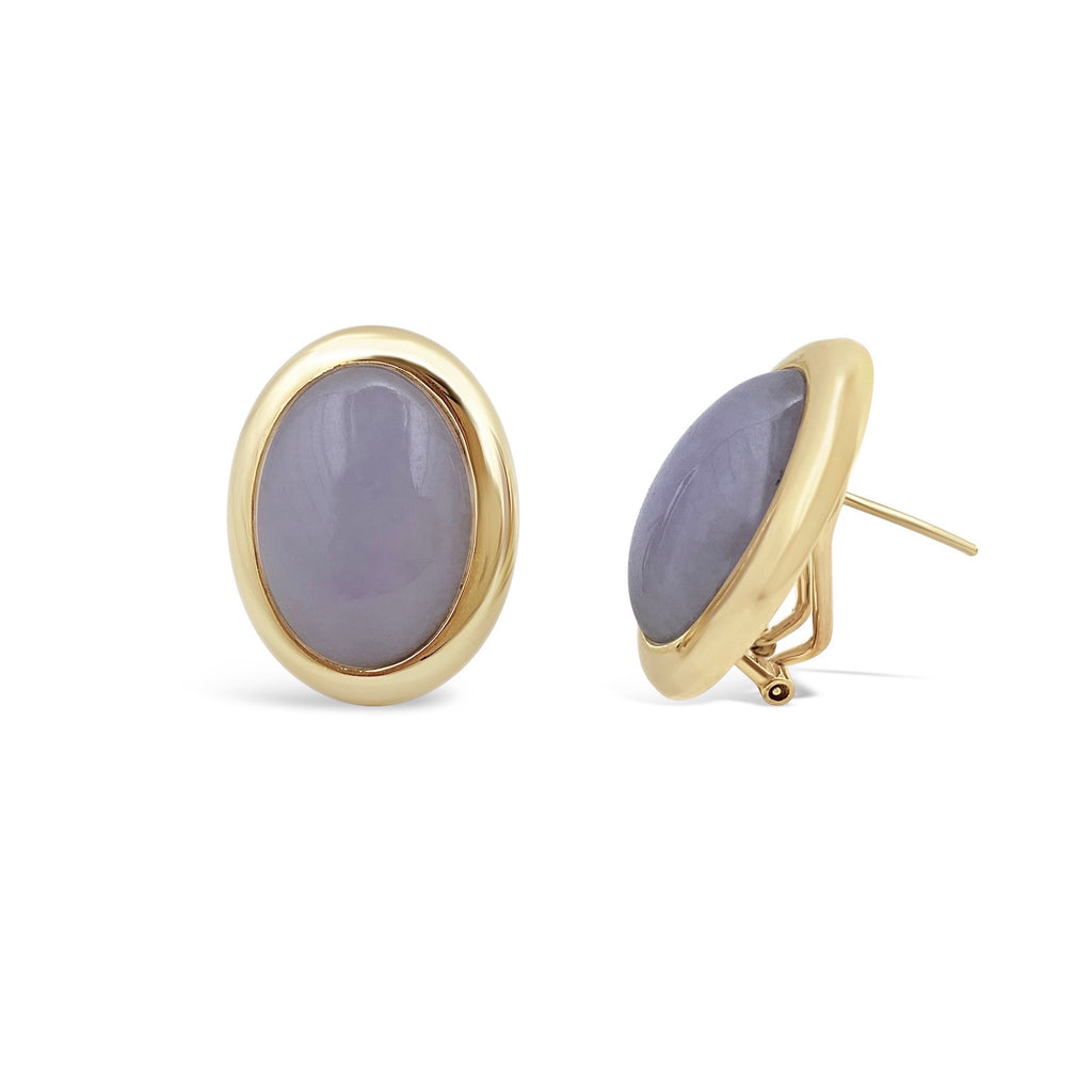 Lavender Jade Cabachon Gold Bezel Set Earrings