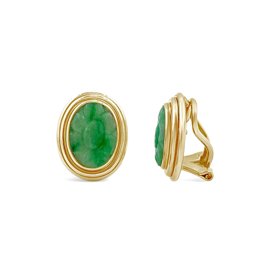 Carved Green Jade Double Bezel Earrings