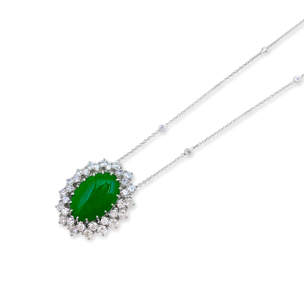 Estate Fine Green Jadeite & Diamond Pendant Necklace