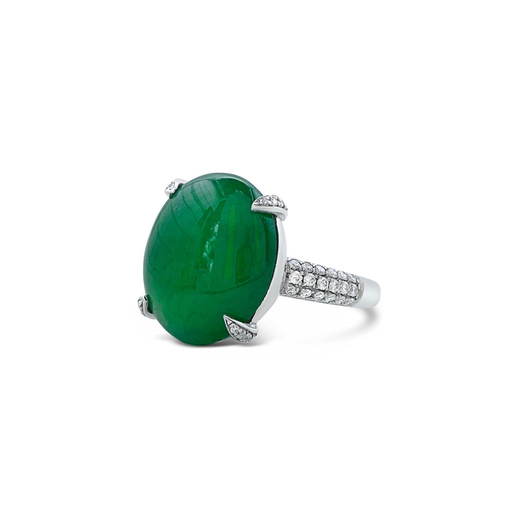 Fine Green Jadeite & Pavé Diamond Ring