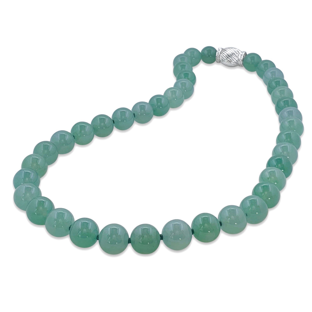 Translucent Bluish Green Jadeite Necklace