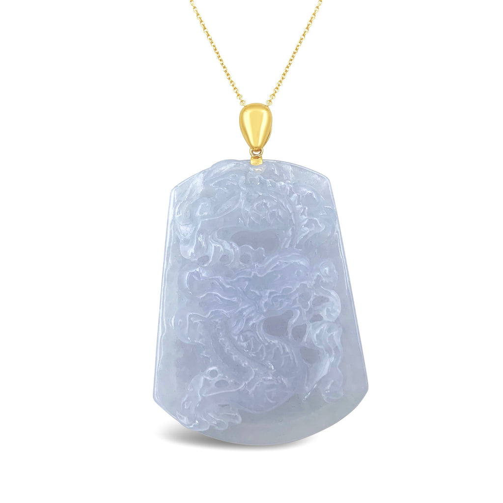 Icy White Jade Dragon Pendant