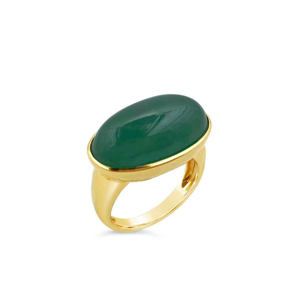 Forest Green Jade East-West Ring